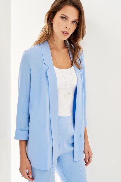 Acik Mavi Tencel Blazer Kadin Ceket Kadin Moda Stilleri Kadin Ceketleri
