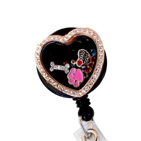 locket badge reel, floating charm locket, dog lover, dog locket, retractable badge reel, badge holder