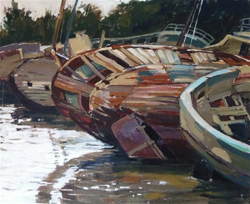 """Daily Paintworks - """"Shipwrecks at Douarnenez"""" by Haidee-Jo Summers  10x12in"""
