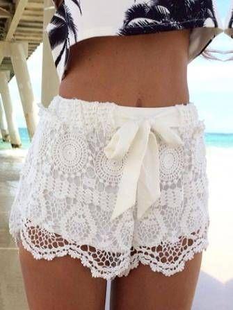 Lace Hem Crochet Shorts For Women Beach Hollow Out Short Pants at Banggood
