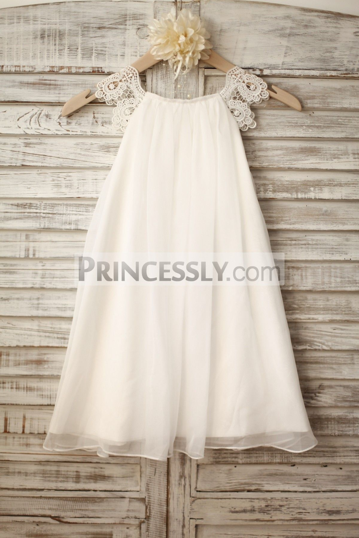 Beach wedding flower girl dresses  Lace Cap Sleeves Boho Beach Ivory Chiffon Flower Girl Dress