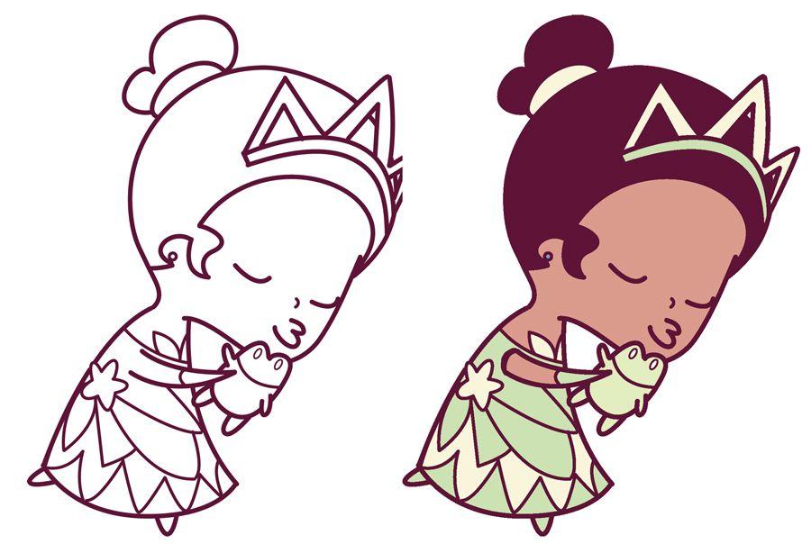 How To Draw Princess Tiana Kissing A Frog Cute Chibi Kawaii