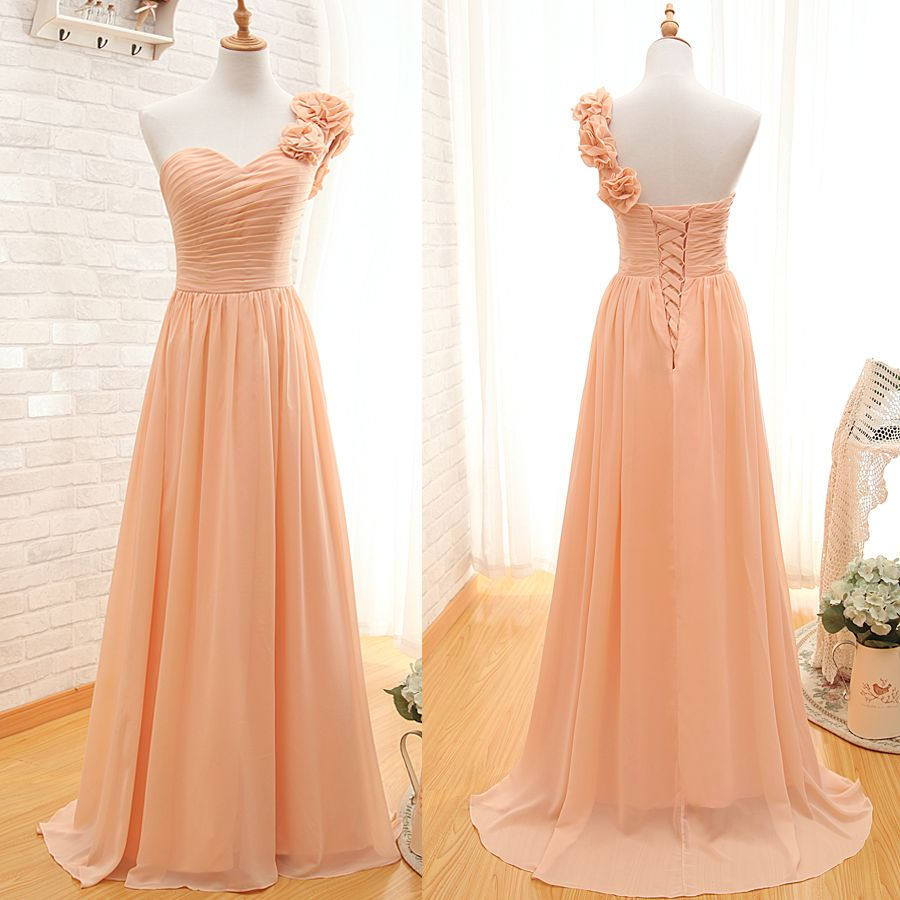 Custom made orange oneshoulder neckline chiffon bridesmaid dress