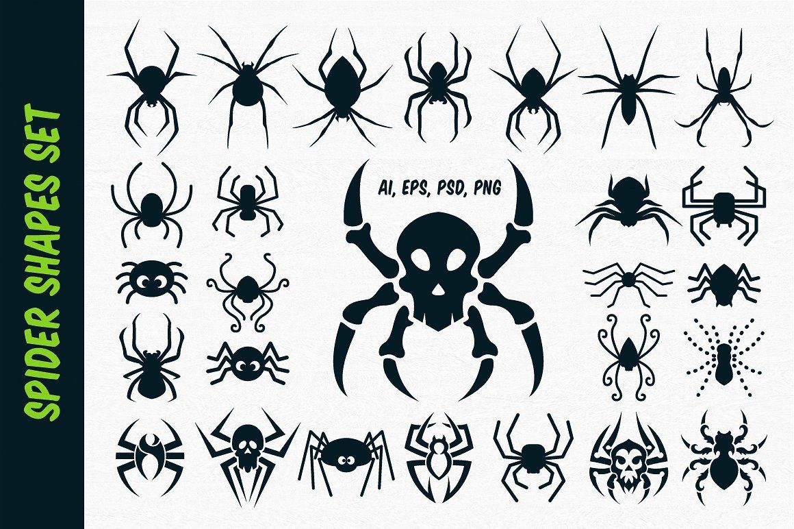 Spider Vector Shapes For Halloween Spider Drawing Spider Illustration Vector Shapes