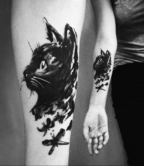 Typek Tattoo Schwarze Katze Tatowierungen Tattoos Katze Und
