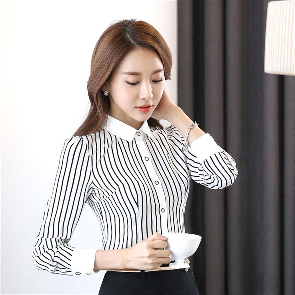 9f2a86753bd Female long-sleeve chiffon shirt spring autumn women shirt women s Plus Size  stripe shirt female office