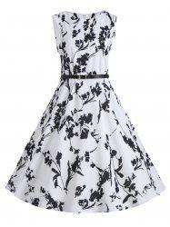 25c3ddc714586 Plus Size Floral Midi Vintage Dress with Belt