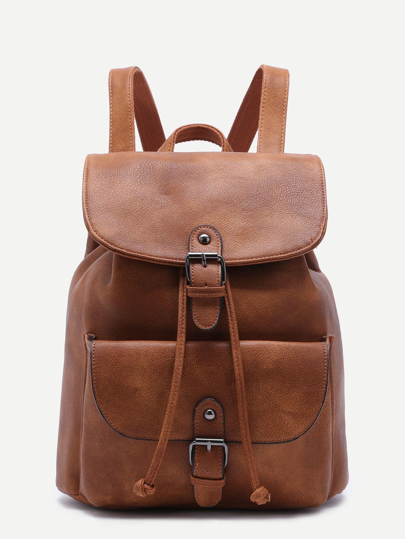 58b5fdeaf5 #AdoreWe #SheIn Bags - SheIn Khaki PU Buckle Strap Drawstring Flap Backpack  - AdoreWe.com