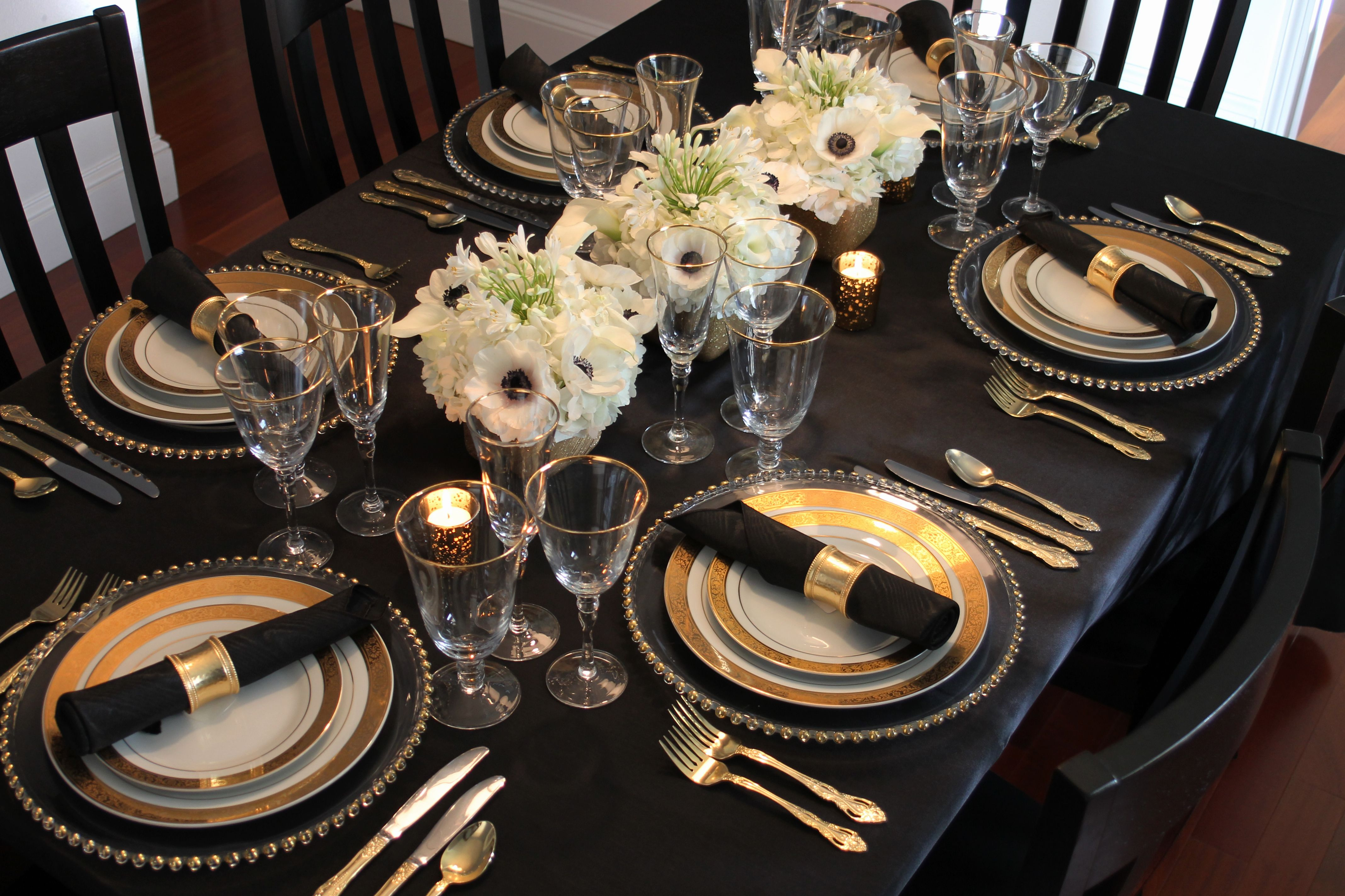 Dinner Party Event Styling Glamorous Black Amp White