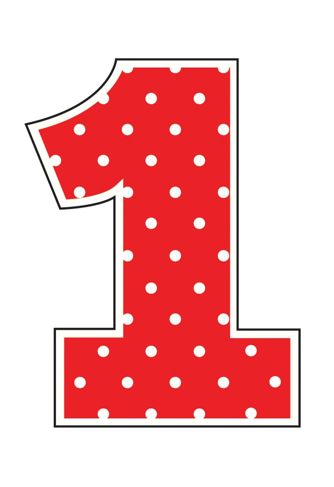 Picture of Number 1 Printable | Alphabet and Numbers Learning | Ladybug party supplies, Happy ...
