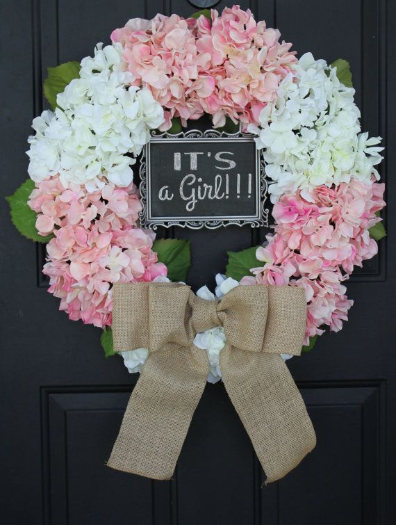Hydrangea burlap wreath pink and white handmade gift for Baby shower front door decoration ideas