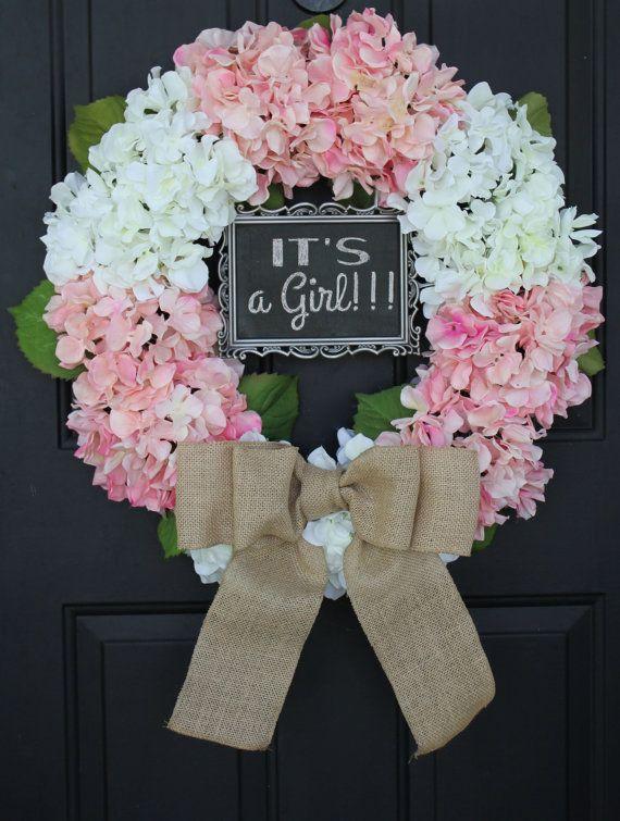 Hydrangea BURLAP WREATH - Pink and White Handmade Gift ...