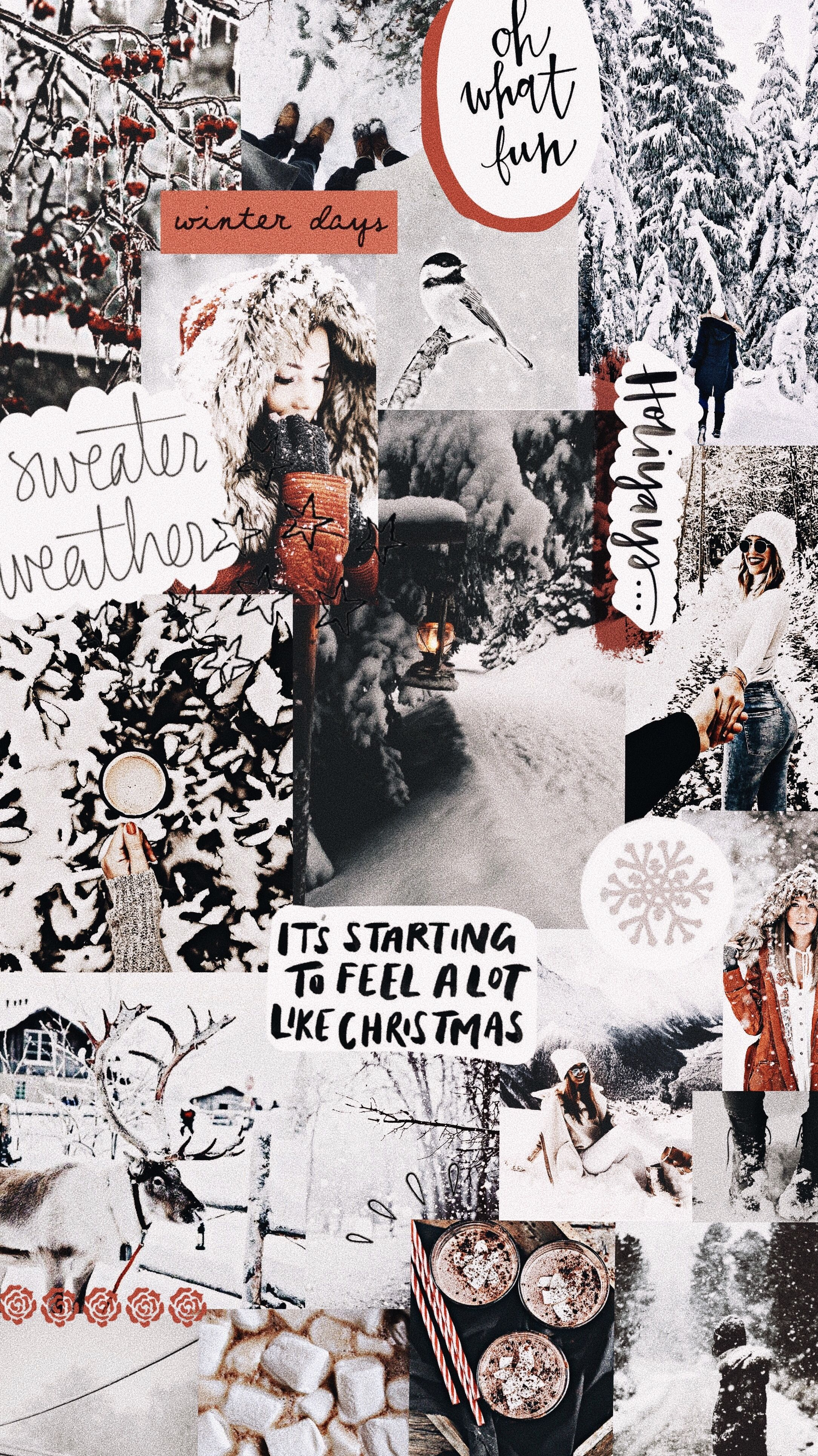 winter aesthetic wallpaper christmas collage