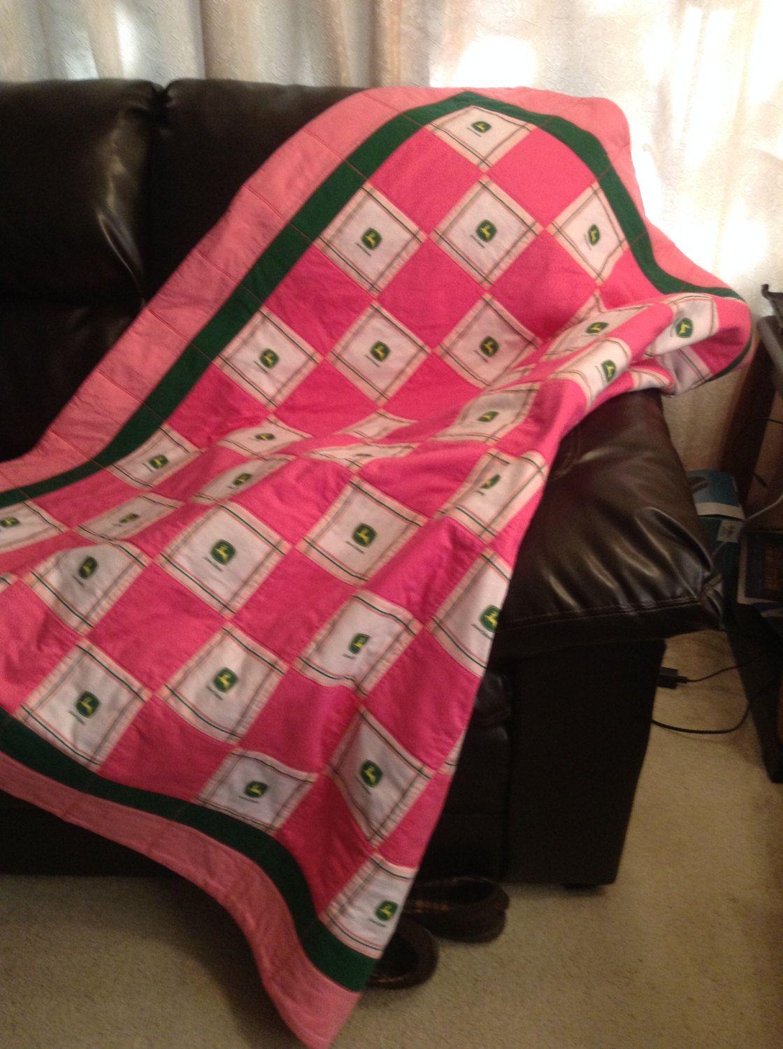 John Deere Goes Pink by emeraldfirequilts on Etsy