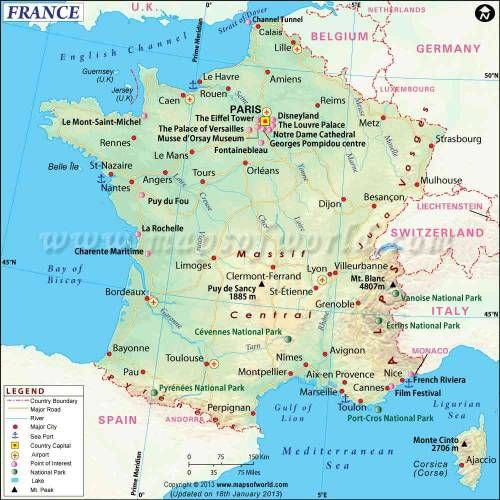 Country Map Of France.Cool France Map Holidaymapq France Map France Travel France City