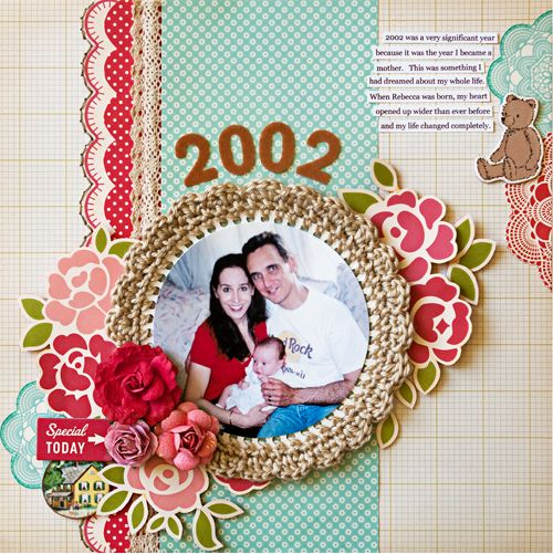 Another gorgeous Stacy Cohen layout...love the crochet around the photo!