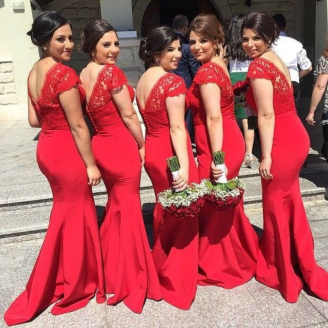 New Trend Red Mermaid Lace Long Bridesmaids Dresses With Cap Short Sleeves V Neck Y Prom Gowns Formal Dress Wedding Party Plus Size