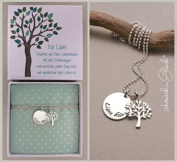Baptisum necklace tree 925 silver with engraving and gift box baptisation jewelry boy girl gift godchild jewelry chain Baptism communion birth