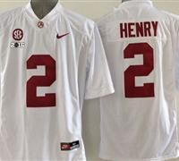 Alabama Crimson Tide  2 Derrick Henry White SEC   2016 College Football  Playoff National Championship Patch Stitched NCAA Jersey fef224530