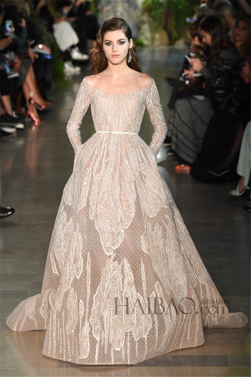 Elie Saab Champagne Prom Dresses Fashion Scoop Lace Applique ...