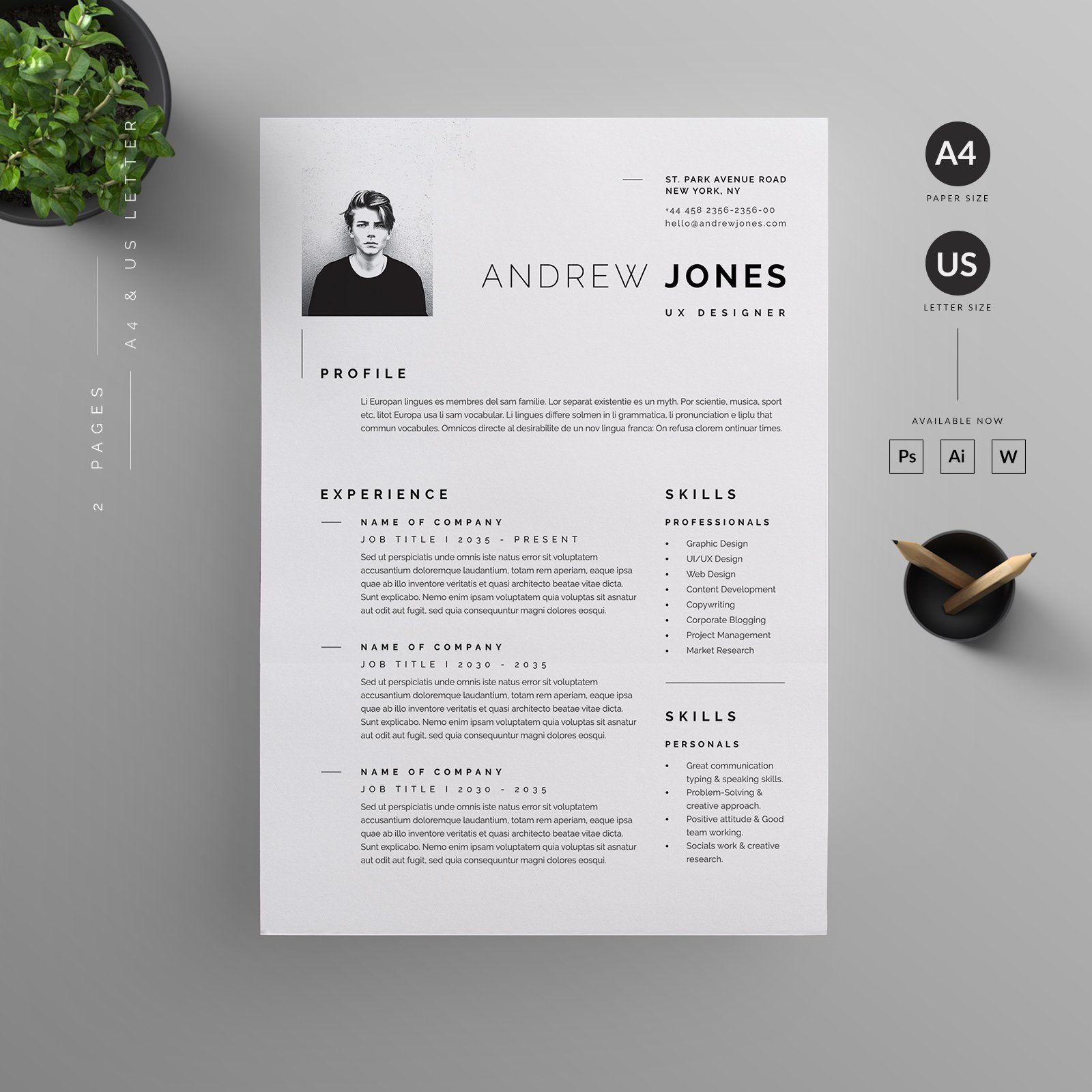 2 Pages Resume Template A4 Us Letter With Bleed Compatible