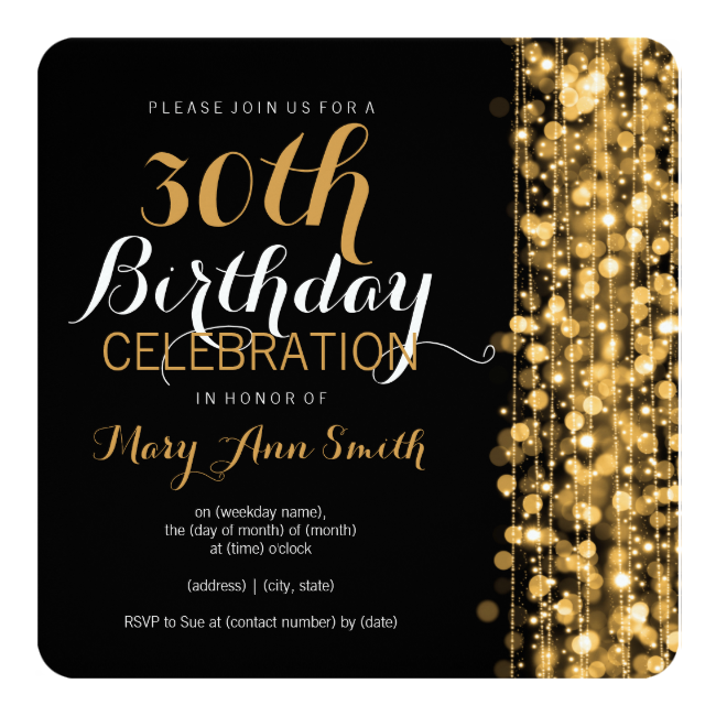 elegant 30th birthday party sparkles gold 5.25x5.25 square paper, Birthday invitations