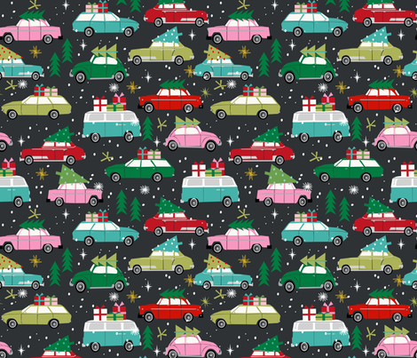 vintage christmas cars holiday xmas christmas fabric tree on car fabric by charlottewinter on spoonflower