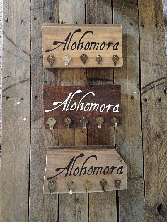 Alohomora Spell Harry Potter Barn Wood Key Hook Sign Harry Potter     A fun Harry Potter inspired key rack to help organize your home  With this  Alohomora Key Rack you will always be able to unlock your doors