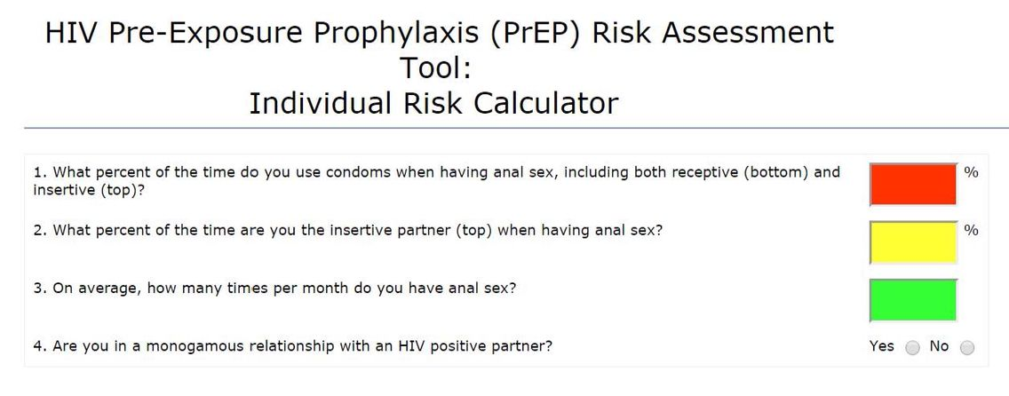 HIV #PrEP Risk Assessment Tool - Individual Risk Calculator HIV - risk assessment