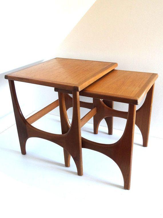 Tables Gigognes Annees 60 Style Scandinave Par Brocandpop Sur Etsy Mobilier De Salon Tables Gigognes Table Gigogne Scandinave