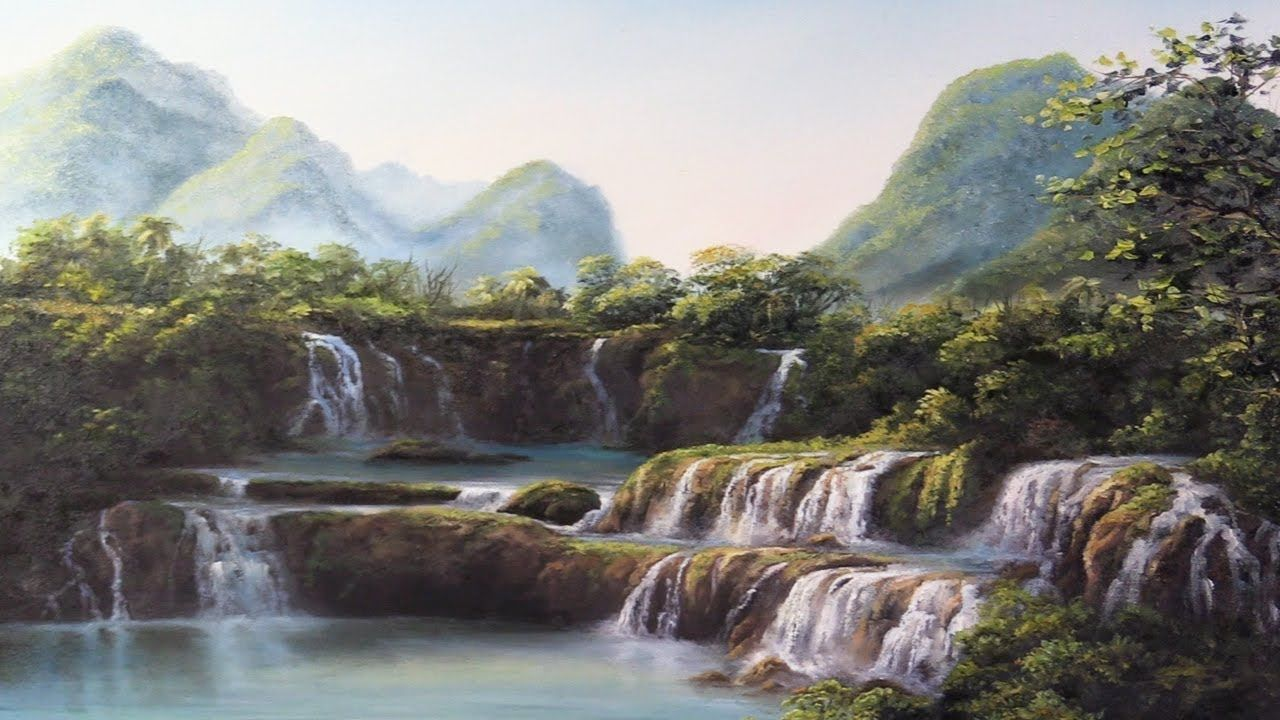 Do You Enjoy Seeing Landscapes With A Whole Bunch Of Waterfalls In This Short Painting Lesson Kevin Will S Kevin Hill Paintings Waterfall Landscape Paintings