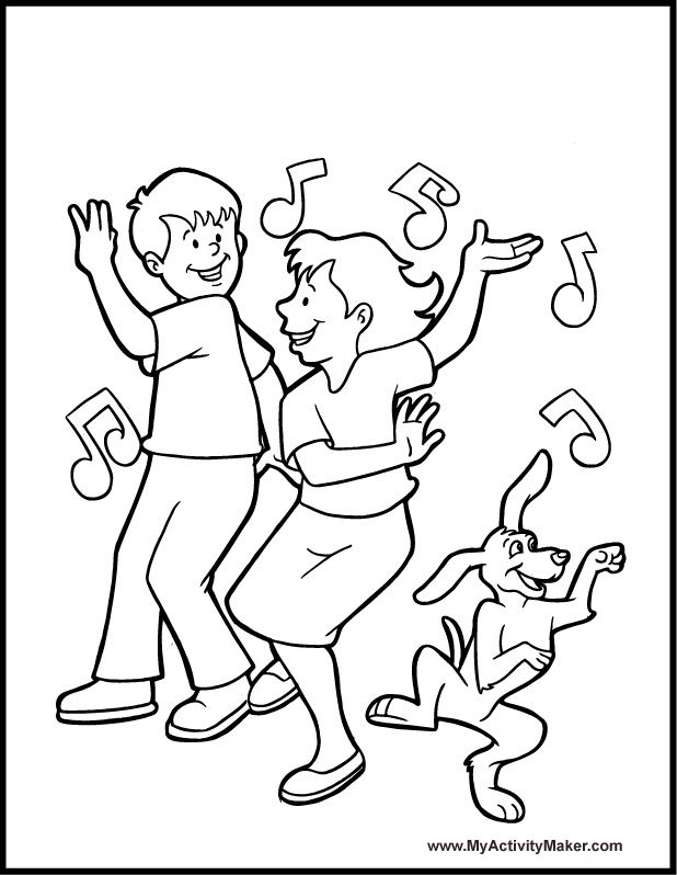 kids dancing coloring pages - photo#2