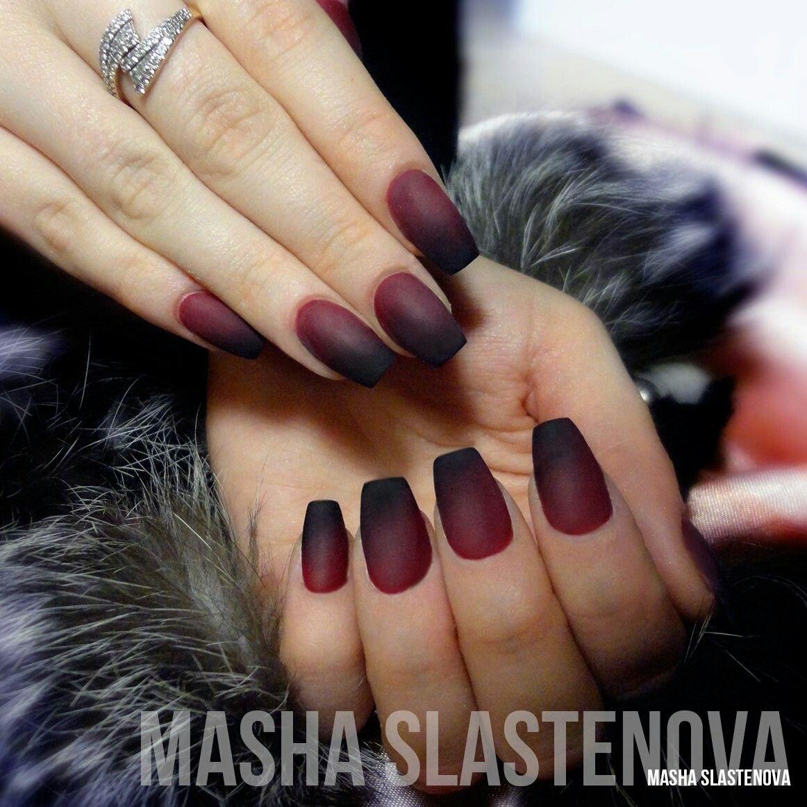 марсала, наращивание ногтей, форма пуанты, матовые ногти