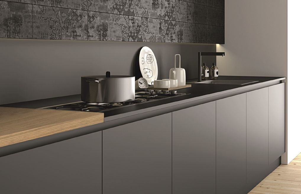 modern minimalist bedroom kitchen | Kitchen made of FENIX NTM. Nero Ingo. #Doimocucine ...