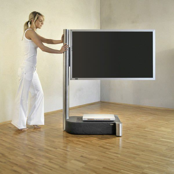 soporte para tv de pie moderno con ruedas art wissmann raumobjekte