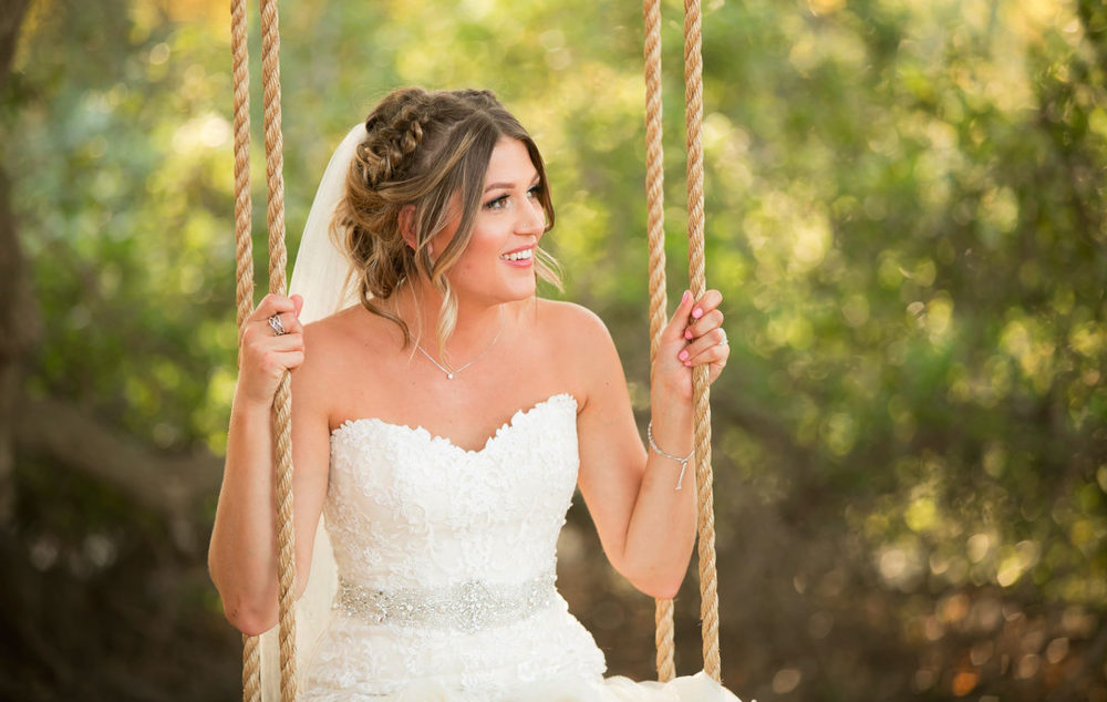 Wedding Hairstyle With Braided Updo Veil And Natural Makeup