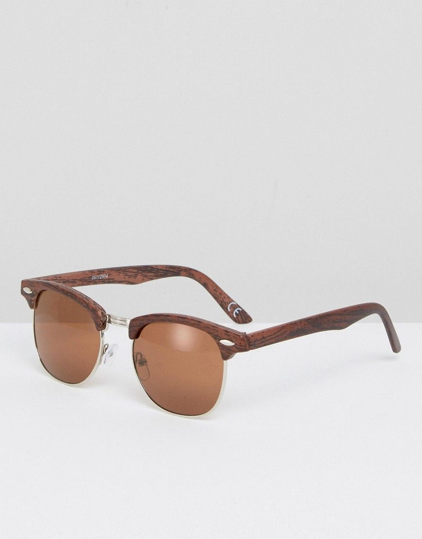 b6bfbbcb8fb ASOS Retro Sunglasses In Silver With Wood Effect - Silver