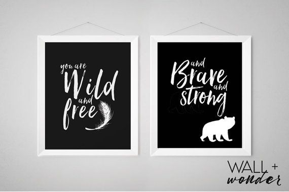 Set Of Two Monochrome Black And White Nursery Print Decor