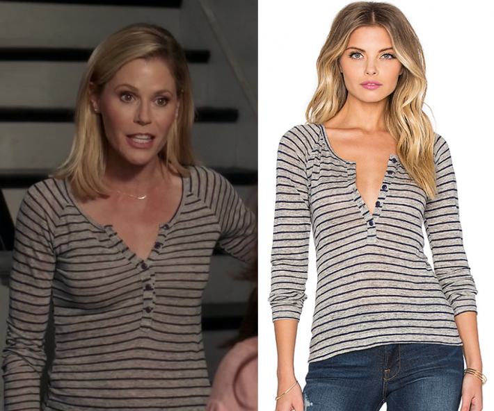 Modern Family Season 9 Episode 3 Claire S Striped Henley Tee Shop Your Tv Fashion Tv Modern Family Family Fashion