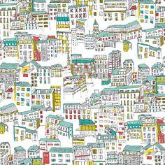 Tissu street life designer anglais - dashwood studio design jessica hogarth - vue du ciel