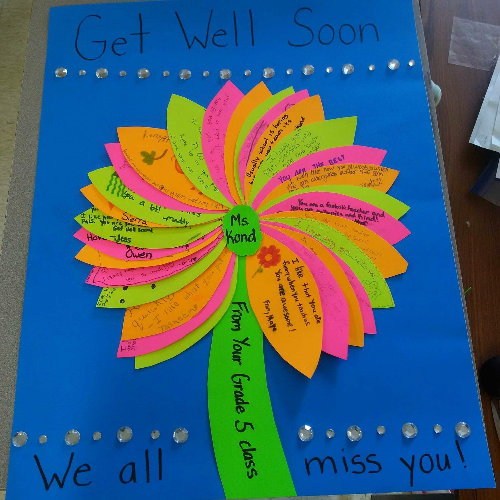 Get well soon or thank you card idea for a teacher from