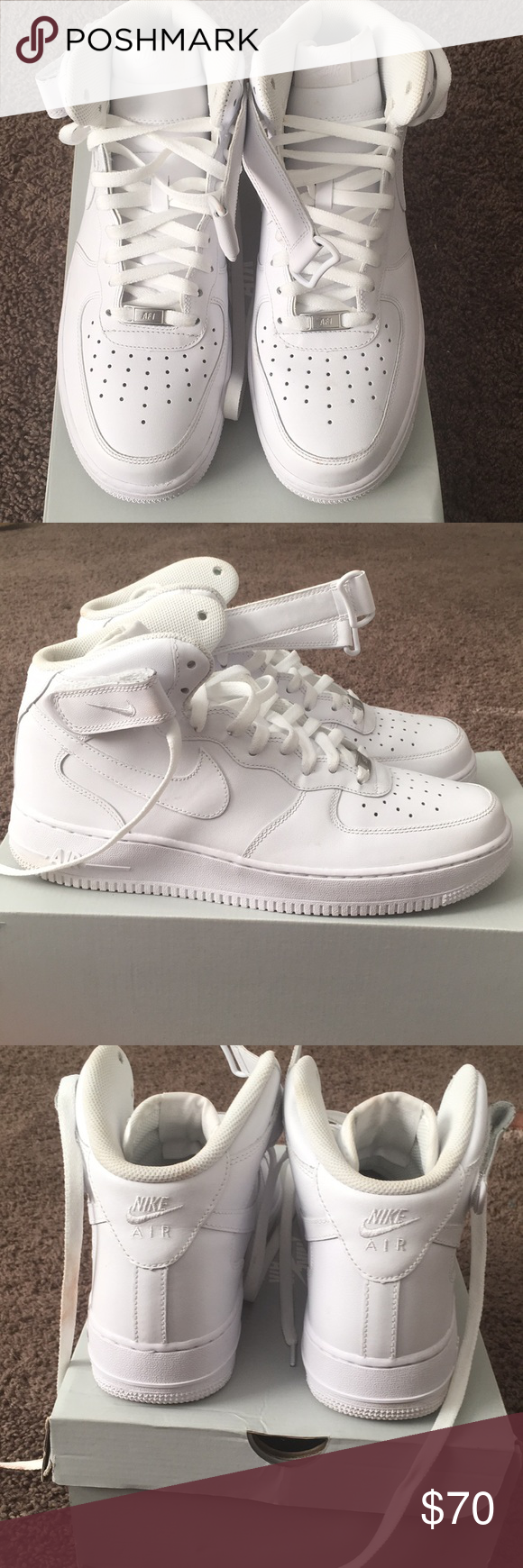 Shop Men's Nike White size 11 Sneakers at a discounted price at Poshmark.  Description: All white Air Force ones.