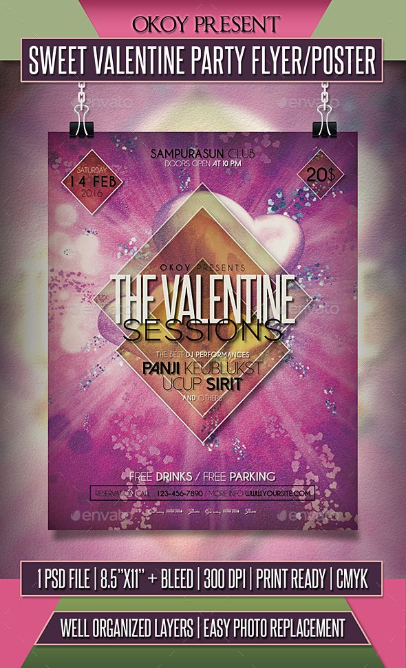 free invitation templates for going away party%0A Sweet Valentine Party Flyer     Poster Party flyer  Flyer template   valentines dance poster