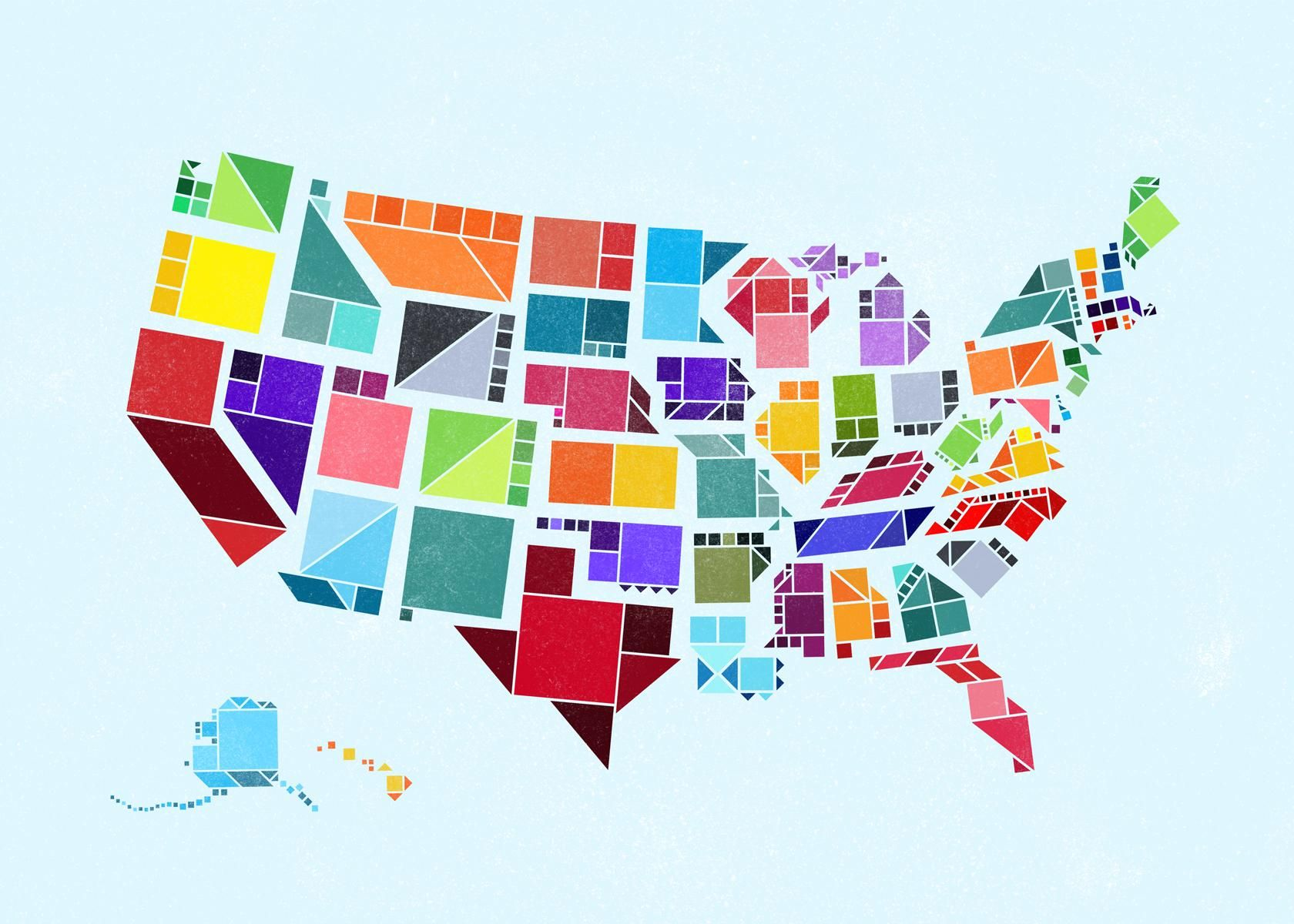 My Buddy Created This Awesome Tangram Map Of The Us 1680x1200 State Posters Map Design Infographic Map