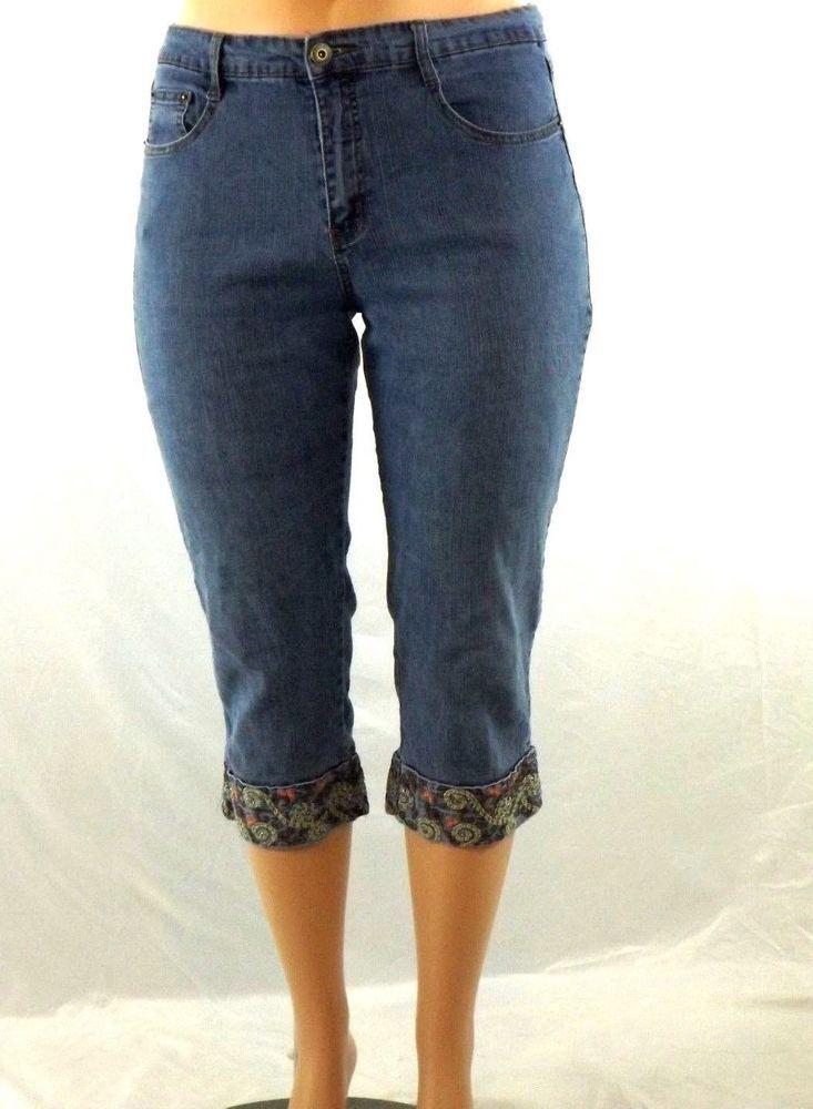 258869a0f95 Roz   Ali Size 14 Capri Cropped Stretch Jeans with Detailed Pockets   Leg  Cuffs  RozAli  CapriCropped