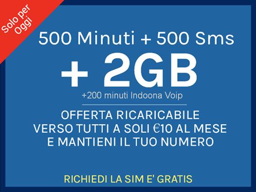 In Esclusiva Online la migliore offerta ricaricabile per il tuo cellulare ! 500 minuti + 500 sms + 2GB - Verso Tutti ! Richiedila GRATIS su: http://www.offertatelefonia.it/ INSERISCI IL CODICE: WP116'' quando effettui l'ordine '' '' Spedizioni in tutta Italia '
