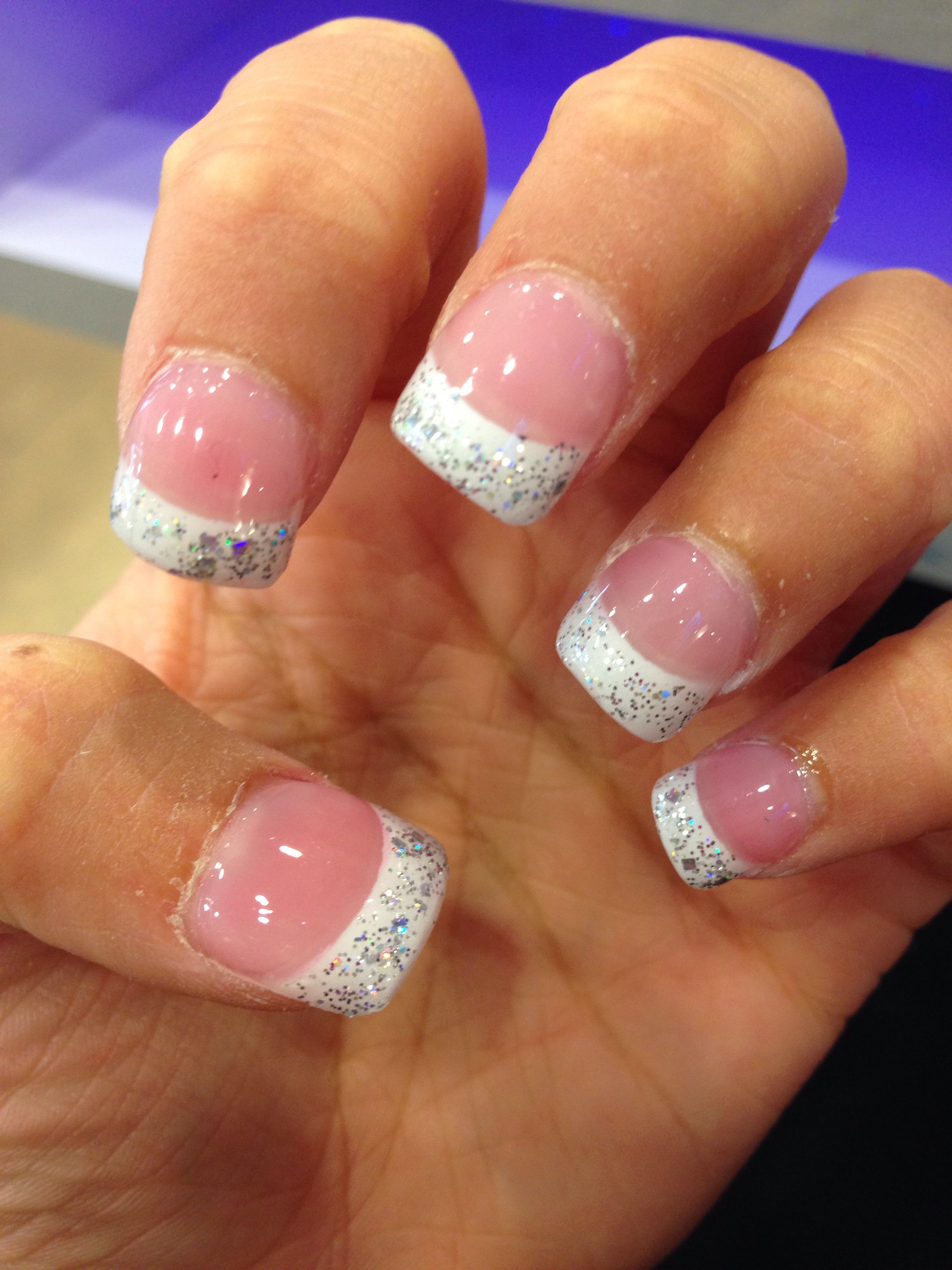 Glitter French tip acrylic nails! | Nails | Pinterest