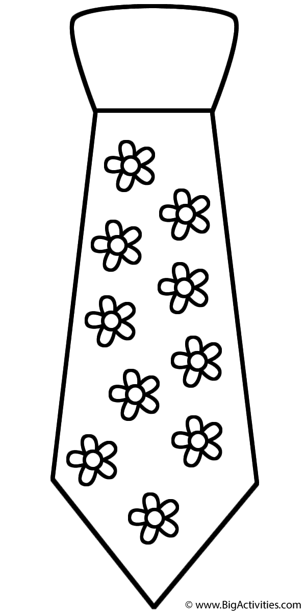 Neck Tie With Flowers Printable Father S Day Coloring Pages For Kids Fathers Day Coloring Page Coloring Pages Fathers Day
