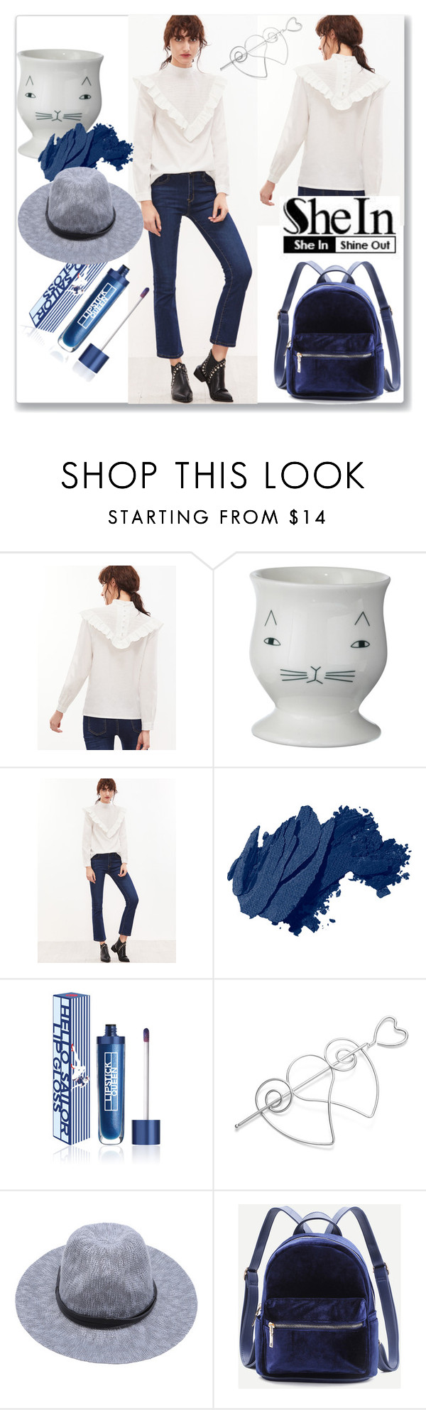 """Shein White Ruffle Blouse"" by ludmyla-stoyan ❤ liked on Polyvore featuring Donna Wilson, Bobbi Brown Cosmetics, Lipstick Queen, white, ruffle, blouse and shein"