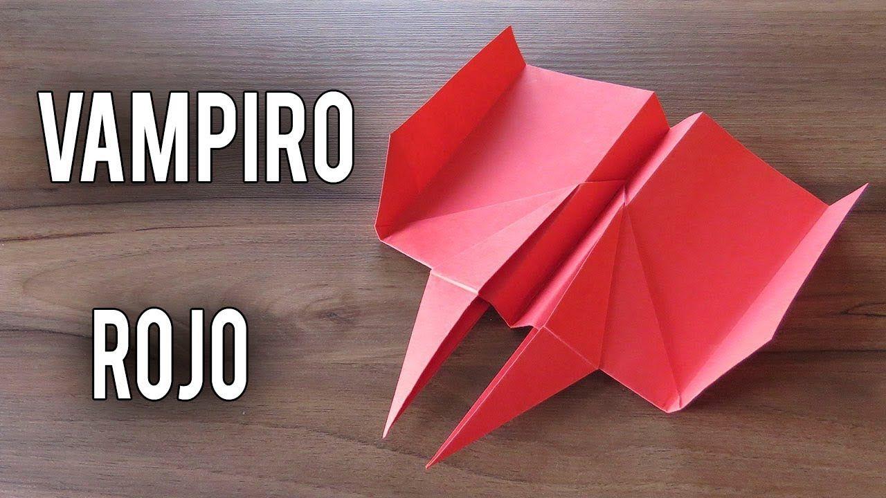 Como Hacer Un Avión De Papel Que Vuela Mucho Y Lejos Planeador Vampiro Rojo Como Hacer Un Avion Aviones De Papel Sobres De Papel